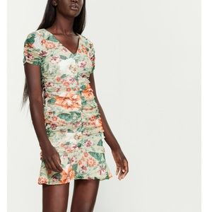 KENSIE Up The Front Floral Ruched Mini Dress